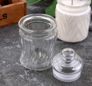 vaso della caramella di vetro di reticolo del diamante 320ml per memoria della cucina