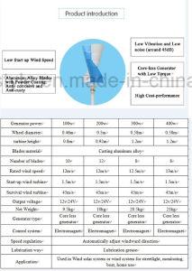 200W Pequeño aerogenerador vertical de 12V 24VCA para la venta