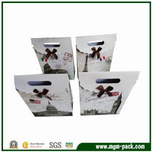 Rectángulo de lujo negro soporte de papel bolsa de regalo