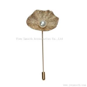 Sciarpa dello scialle di spilla di sicurezza del risvolto del tasto del Brooch della perla del foglio del loto