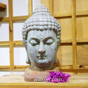 La sculpture d'artisanat religieux de la tête de Bouddha Figurine décoration de jardin