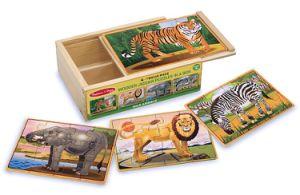 Wilde Tiere 4 Puzzlen in einem Kasten