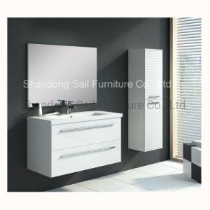 Gloss PVC completo para montagem em parede com armário de casa de banho moderna