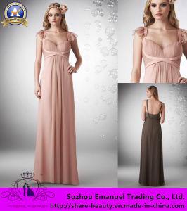 De vrije Verschepende Vierkante Chiffon van het Imperium van de Hals Ruglooze Sleeveless Roze Ruched de Kleding van het Bruidsmeisje van 2014