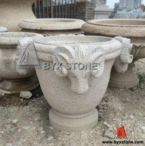 Цветок-Pot сада гранита/Stone Planter с Sheep Carving