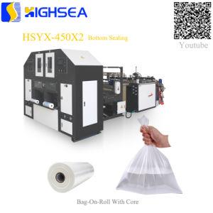 Hsyx-450X2 duas linhas frutas vegetais saco plástico sobre o rolo com fabricantes de máquina de fazer do Núcleo de papel