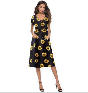 bb73ec303 La mujer de manga corta de la Llanura sueltos Maxi vestidos Casual vestidos  largos con bolsillos