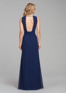 Señoras encaje gasa por la noche para la boda vestido de Prom vestido Qjm Bridesmaid5518