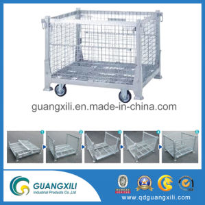 Los depósitos de malla de alambre de acero plegable Caja de almacenamiento contenedor con ruedas de PU