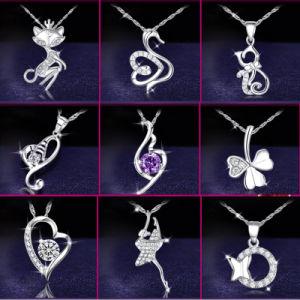 Collana d'argento elegante del Choker del metallo di cristallo dei monili dell'argento sterlina 925