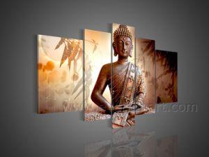 손으로 그리는 Buddha 유화 요약 화포 벽 예술