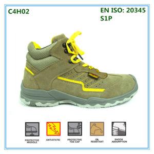 Parte superior de cuero gamuza suela de caucho Zapatos de seguridad