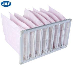 Support matériel de fibre synthétique de l'efficacité du filtre à air bag