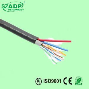 Открытый двойной куртка Cat5e Ethernet кабель камеры с ОАС медного кабеля питания
