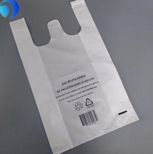 Le PEHD/LDPE PE Amidon de maïs en plastique personnalisé PLA Chanvre Pbat Shopping supermarché Environment-Friendly compostable biodégradable T-Shirt sacs d'impression