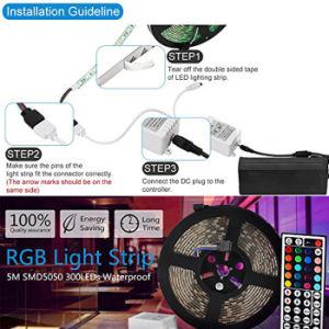 5050 tira RGB LED SMD 12V 60LEDs LED luz de faixa de IP65 com 44 Controlador remoto de infravermelhos de chave e DC12V Adaptador de Energia