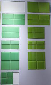 De de appelgroene 3X6inch/7.5X15cm Glanzende Ceramische Badkamers van de Tegel van de Muur van de Metro/Decoratie van de Keuken