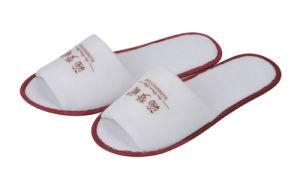 Ouvrir un Logo Rouge Blanc d'impression de la TOE Terry Hôtel Slipper avec 3mm Semelle EVA