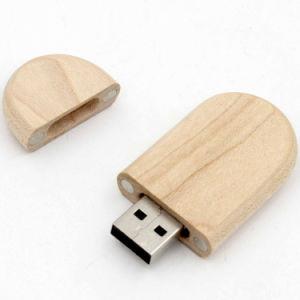 昇進の丸型木USB 2.0のフラッシュディスク
