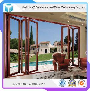 Diseño de la puerta de la casa de aluminio de doble vidrio templado de la puerta Bifolding