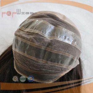 Elsaticの網のバージンの毛の倍は結ぶ頭皮の上のかつら(PPG-l-01629)を