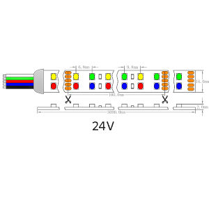 UL Ce D línea LED SMD1210 RGBA tira flexible de luz