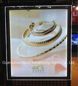 LED sottile che fa pubblicità alla casella chiara acrilica di cristallo