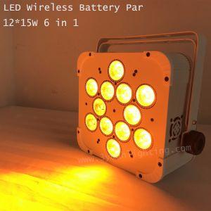 Control inalámbrico de la batería 12*15W LED de luz par plana