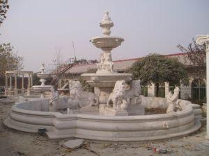 LadiesおよびLionsのMarble白いStoneの庭Water Fountain
