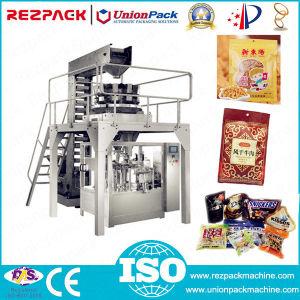 Con un peso de llenado rotativa automática máquina de envasado de alimentos de sellado