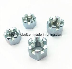 DIN935 l'écrou crénelé hexagonal avec blanc plaqué zinc Cr3+ M10