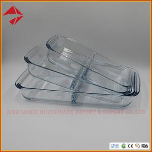De duidelijke Schotel van het Baksel van het Glas Langwerpige met 2 Compartimenten, de Rechthoekige Schotel van het Baksel