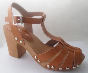 Cale de bois d'ouvrir Toe Lady sandale