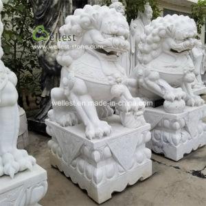 Het witte Marmeren Snijdende Beeldhouwwerk van de Leeuw van het Standbeeld van de Steen Dierlijke voor Tuin