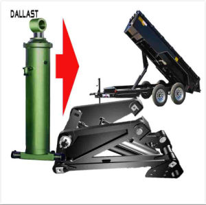 起重機のダンプトラックの二重1つの段階の水圧シリンダの水力の単位機能する