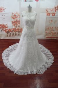 Beading O-Neck Real Photo Appliques Wedding Dress (WDZ57)