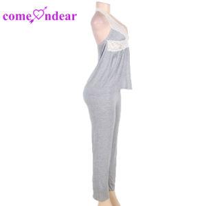 La taille de plus en stock gris élégant Lingerie sexy avec Halter haut et pantalon