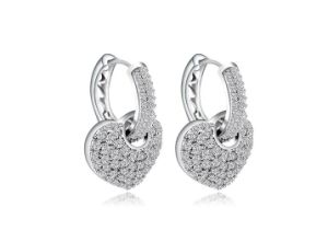 925 은 심혼 모양 결혼식 귀걸이 형식 보석