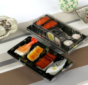 Sortir à usage unique des récipients alimentaires Boîte en plastique de Sushi ronde