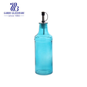 十字の縞のLidded高いガラス油壷(GB2505-P)