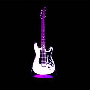 子供のための創造的なエレキギターモデル錯覚ランプ3D LED夜ライト