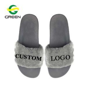 Faites glisser les sandales Greenshoe Fausse Fourrure Mesdames, les femmes de la Fourrure Chaussons diapositives personnalisées à l'intérieur, les femmes fausse fourrure de renard diapositives pantoufles