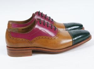 Cuero auténtico de colorido plano Mens Zapatos de negocios