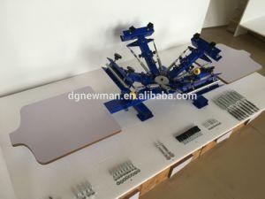Vier Station-manuelles Drehshirt-Silk Bildschirm-Drucken-Maschinen-Drucken-Gerät der Farben-zwei