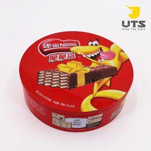 Venta caliente! Personalizar la ronda de estaño metálico tapa transparente para las Cookies/embalaje de chocolate