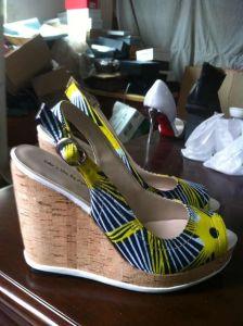 Tela impresa africanos zapatos peep toe