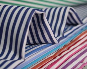 Stripe 60 40 Fios têxteis de poliéster de algodão tingidos de tecido camisa uniforme
