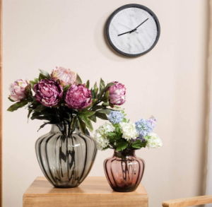 Arte insuflado lado vaso vaso de flores de vidro, Tampo Ribble Mestra Jarras