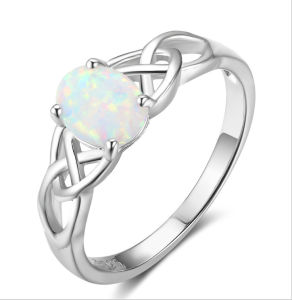 fc32078959e2 Creado el anillo de Ópalo Plata 925 joyas de oro de la moda de anillo de  diamantes