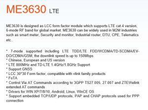 4G modulo 7-Mode di supporto compreso Lte Tdd/Lte FDD/WCDMA/TD-SCDMA/EV-Do/CDMA/GSM Me3630